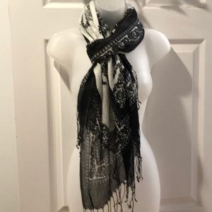 VTG Oblong Scarf Paisley Pattern Black/white